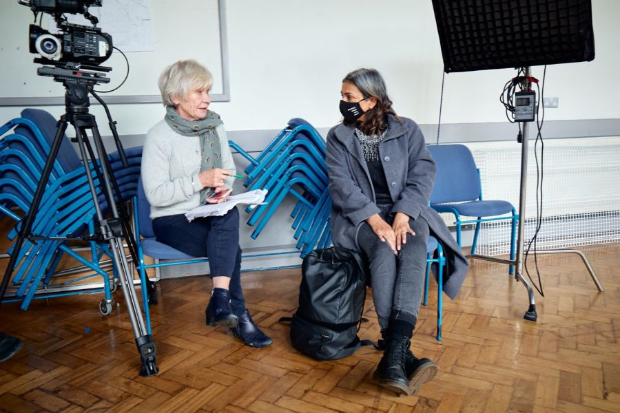 Penny Ryder and Shobna Gulati filming Going the Distance directed by Felicity Montagu. Photo by Ian Wallman