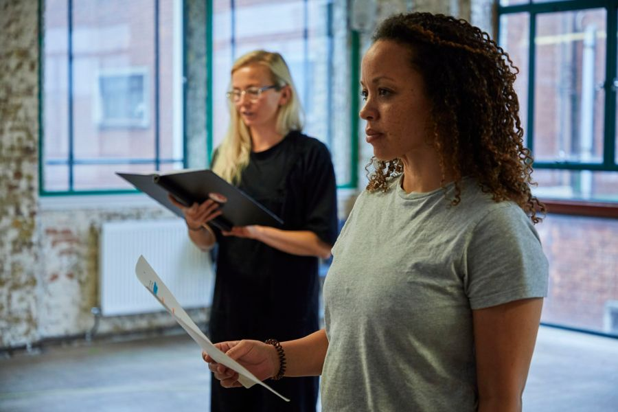 Sophie Melville (Nina) and Cat Simmons (Jackie) in rehearsal for Mum. Photo by The Other Richard.