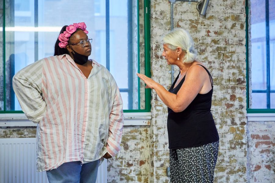 TD Moyo (associate director) and Denise Black (Pearl) in rehearsal for Mum. Photo by The Other Richard.