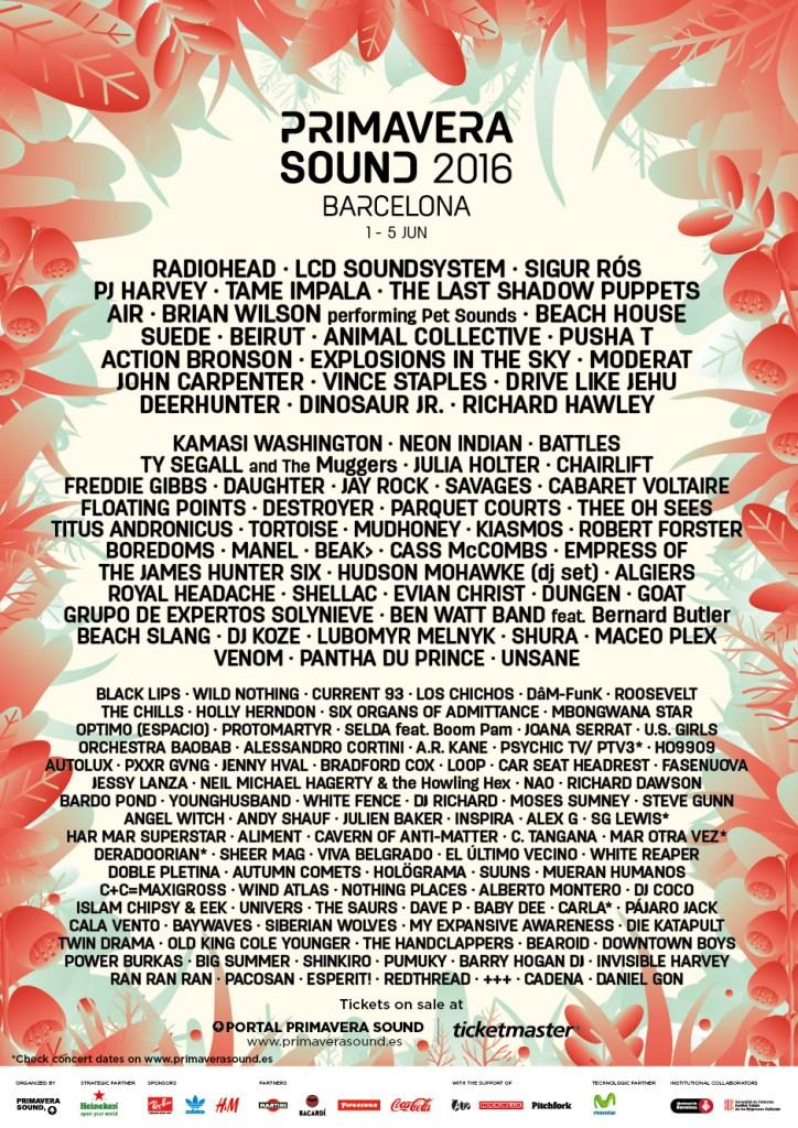 Primavera 2016 lineup