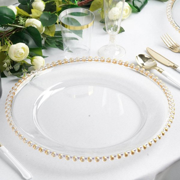 Gold-beaded Clear Charger Plate