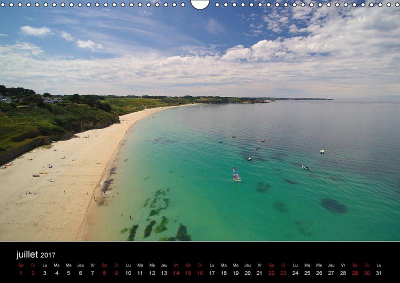 La plage des Grands-Sables à Belle-île-en-mer (56), vue par un drone, illustre le mois de juillet 2017.Le calendrier des plages sera disponible dans une quinzaine de jours.