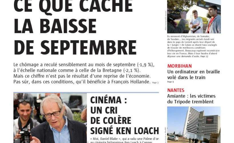 couverture Le Telegramme 26 octobre 2016