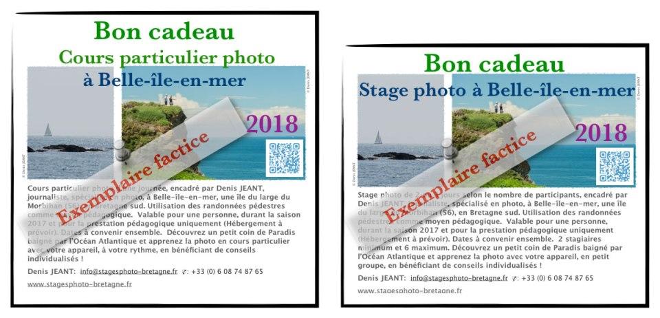 Bons cadeauxfactices des cours et stages photo à Belle-île-en-mer, pour la saison 2018