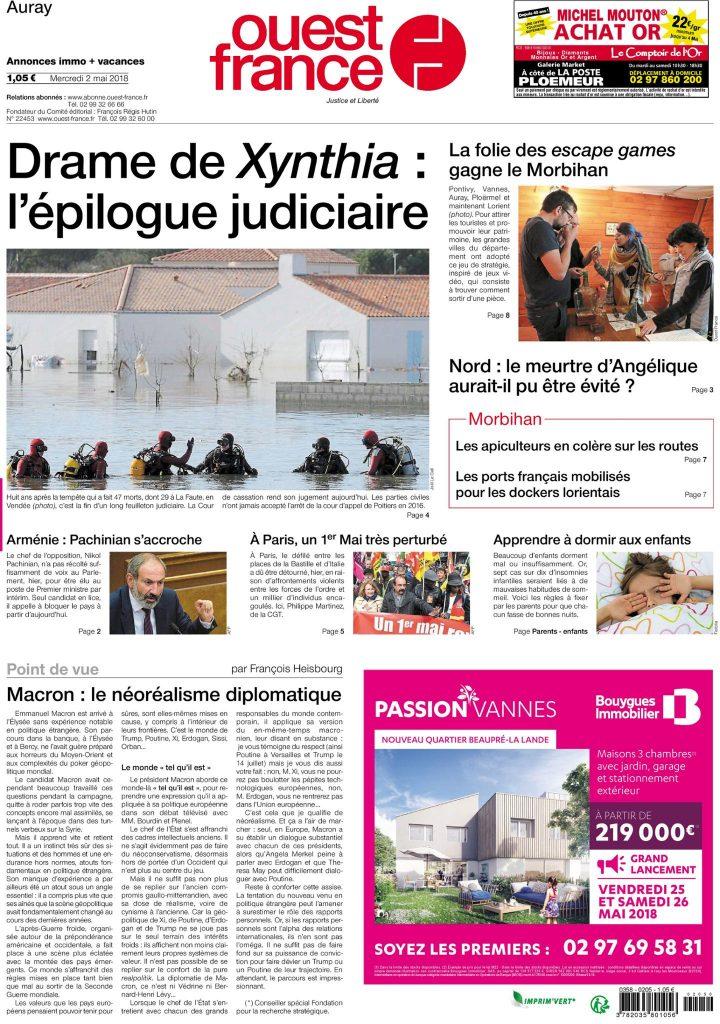 Une de Ouest-France du 2 mai 2018