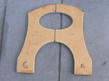 The MDF template used for routing the bridge top view