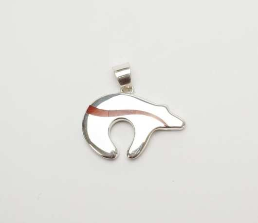 Earl Plummer Sterling Trail Bear pendant with coral inlay