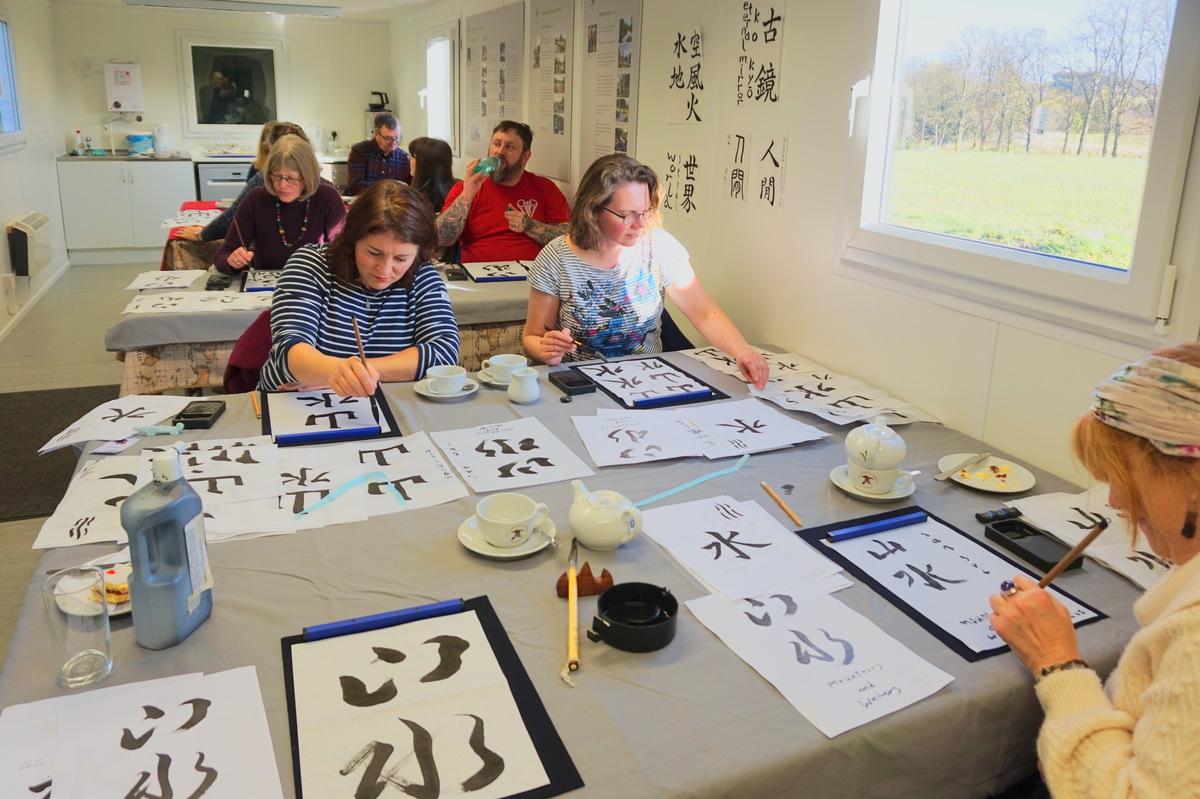 Japanese shodo calligraphy at the Beautiful autumnal Cowden Garden