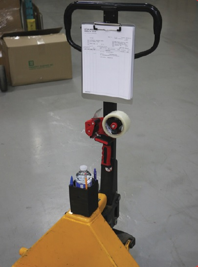 Magnetic Clipboard Tape Gun and Utility Box On Pallet Jack