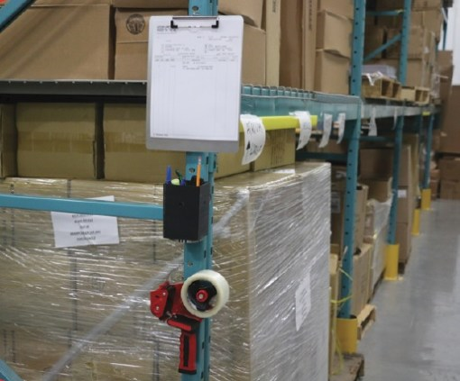 Magnetic Clipboard Tape Gun and Utility Box On Steel Racking