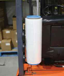 Handy Mag Stretch Film Holder on Forklift with Roll of Stretch Film