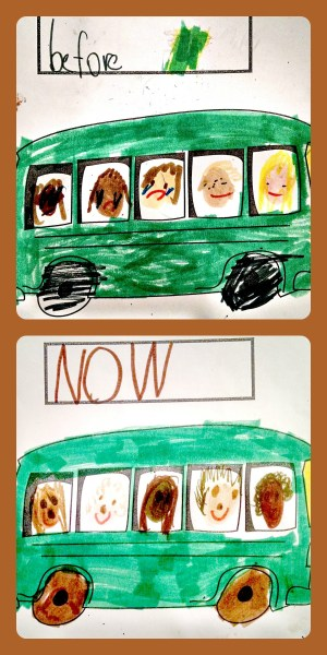 child's drawing of before & now buses. In before, sad brown faces are in the back seats while smiling tan faces are in front. In now, the multicolored faces are interspersed and all smiling.