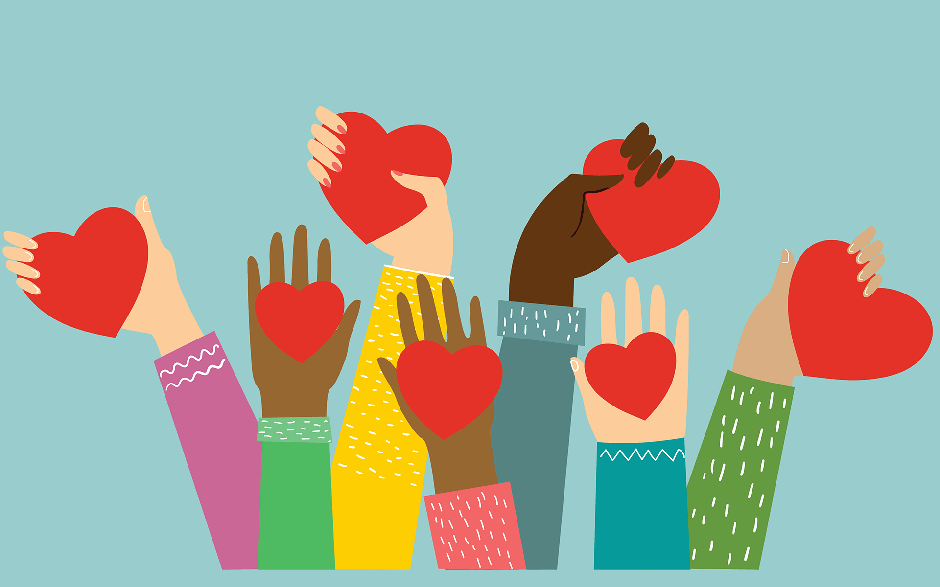 Illustration of hands of different skin tones reaching up holding red hearts. Each arms has a different colored long sleeve.