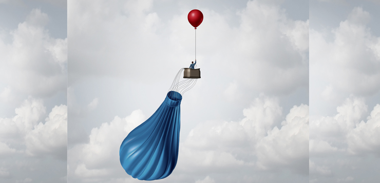 business person in balloon