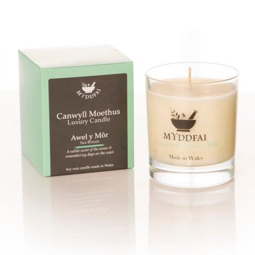 Canwyll Moethus Awel y Môr - Sea Breaze Candle