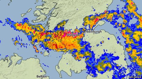 A MET Office satellite map showing thunder and heavy rain over Glasgow on 26 July 2013.