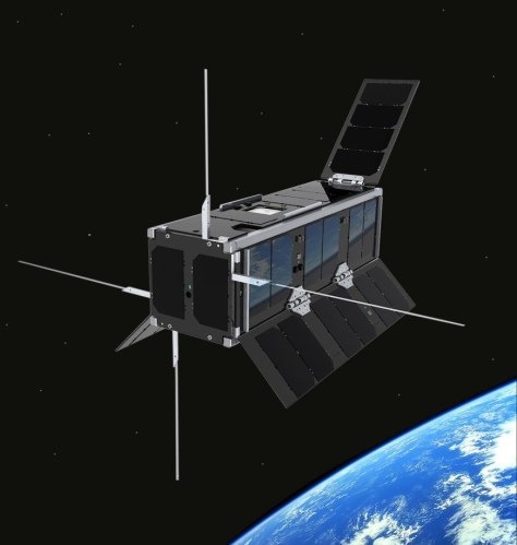 An artist's impression of the new Scotland UKube-1 micro-satellite in orbit around Earth.
