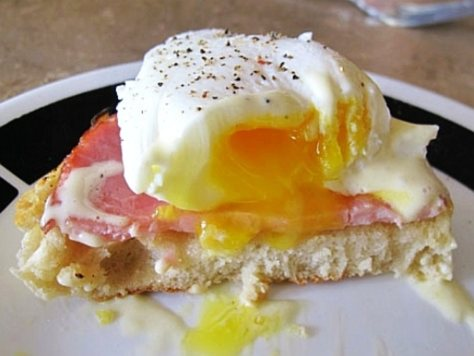 "A photograph showing the classic (and ever so delicious) ""There goes my diet"" eggs Benedict!"