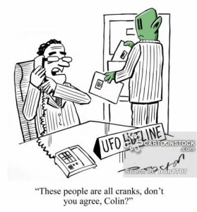 "A humoristic cartoon about the UFO hotline. The caption reads: ""These people are all cranks, don't you agree, Colin?"""