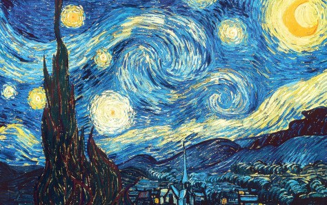 "An image showing Van Gogh's painting ""The Starry Night"" (1889)."