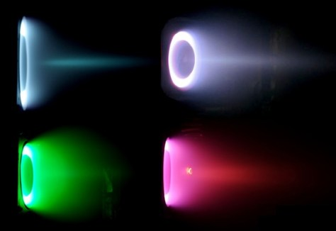 Four different ion thrusters. Source: Michigan Technological University (MIT)