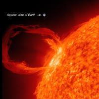A photograph showing a solar eruptive prominence, compared to the relative size of Earth.