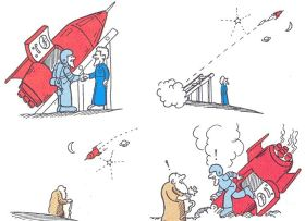 A cartoon explaining the twin paradox.