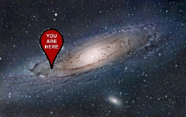 """An artist's impression of our very own barred spiral Galaxy - the Milky Way - with a red tag pointing to its outer edge, labelled """"You Are Here""""."""