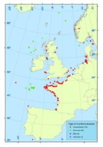 A map of western Europe showing the locations of submerged ammunitions and chemical agents along the French coastline, in the Channel, North Sea, Irish Sea and Baltic Sea.