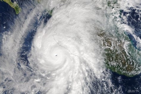 A NASA photograph showing the extent of Hurricane Patricia seen from space - the largest hurricane ever recorded on Earth.