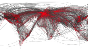 A map showing the Worldwide air transportation complex network. Source: Phys.org