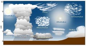 A diagram illustrating the varied shapes of different types of clouds, and their respective altitudes in the atmosphere.