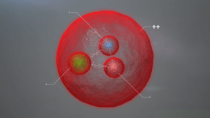 An annotated artist impression of the newly detected particle.
