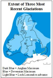 A map showing the extent of the three most recent glaciation events over the United Kingdom and Ireland, including the Anglian Maximum, Devonian Minimum and Loch Lomond Re-Advance.