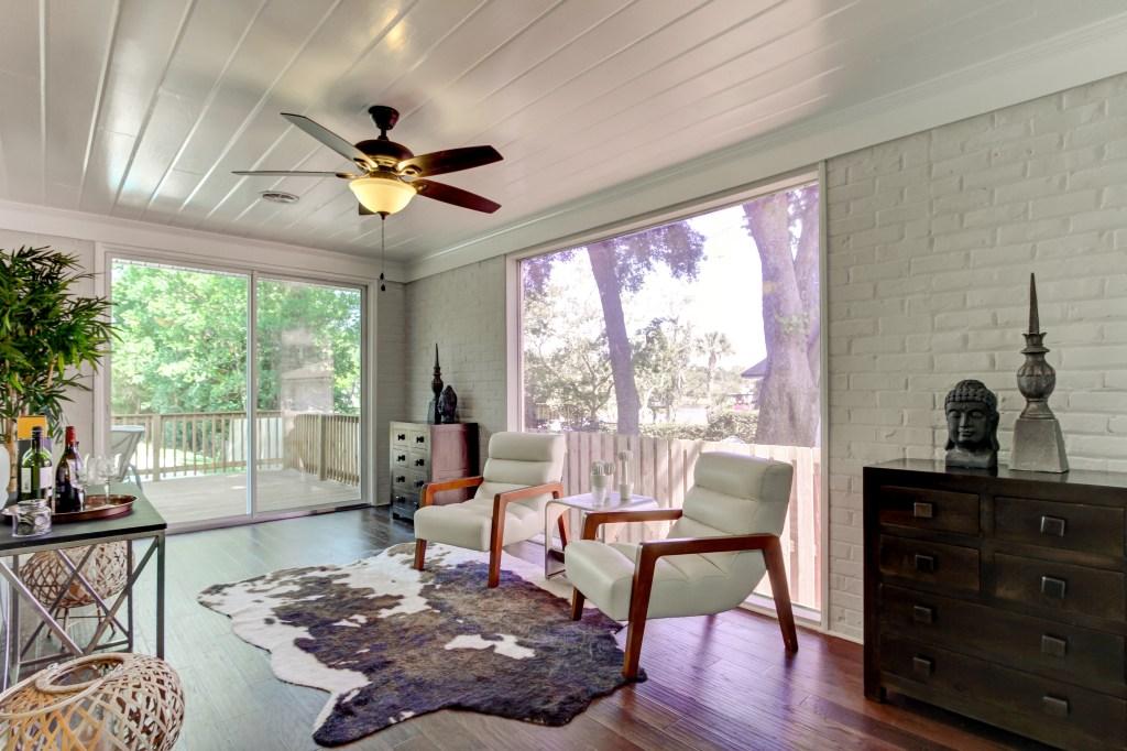 cow hide rugs make great room dividers
