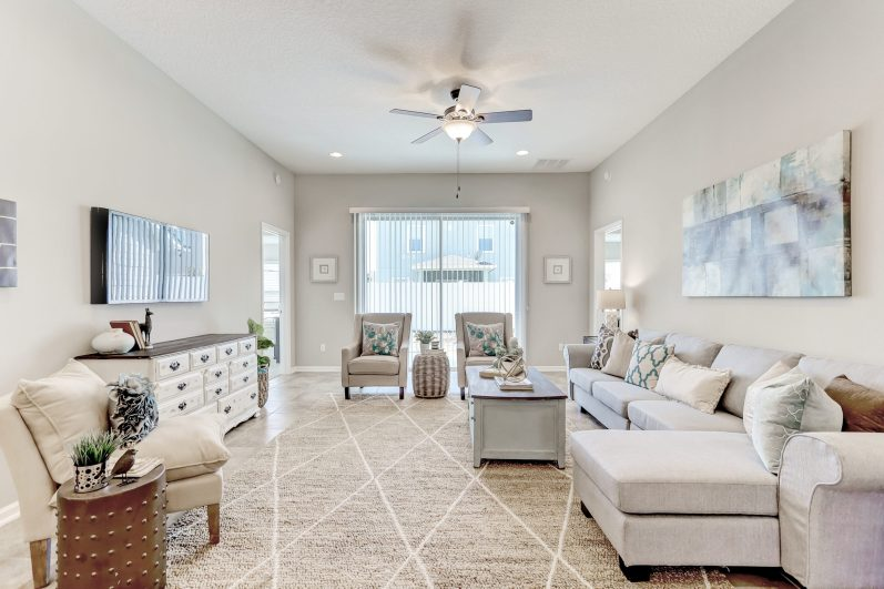 Staged living room of a 2,000 sq ft house
