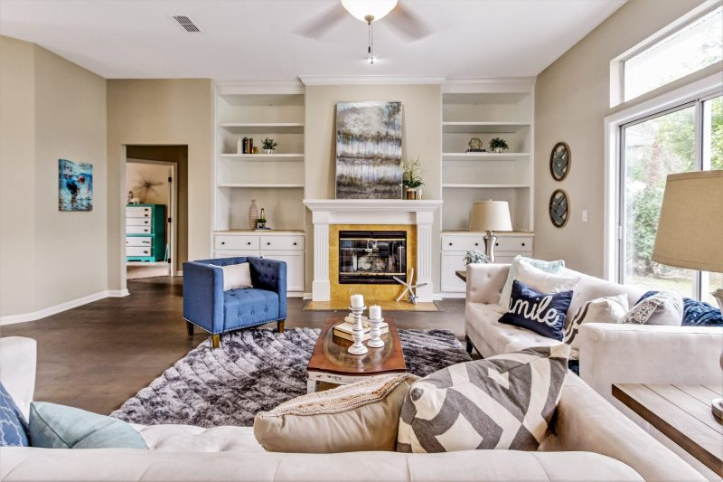 Living room of fully staged home