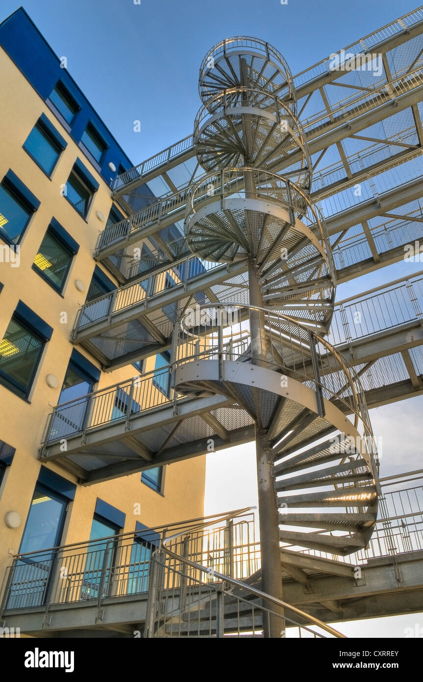 Modern Office Building Architecture With A Steel Spiral   Spiral Staircase Outdoor Near Me