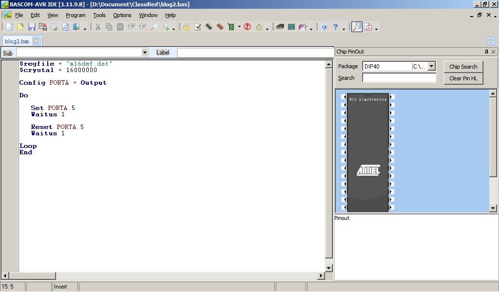 Menggunakan Simulator AVR Basic Compailer (BASCOM)