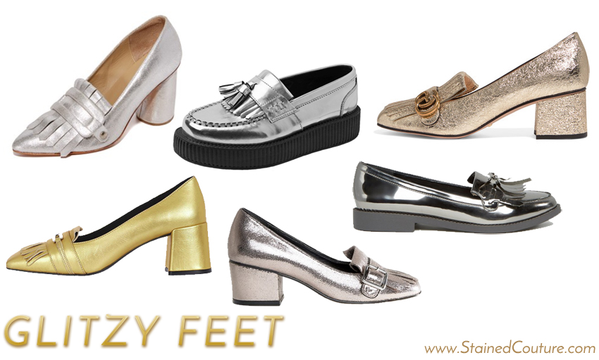 metallic fringe loafers