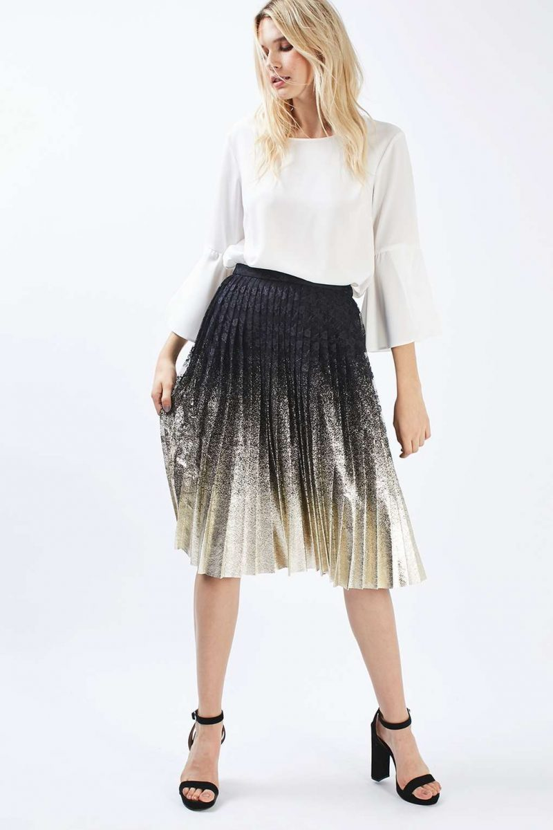 foil lace midi pleated skirt