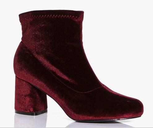 boohoo burgundy velvet ankle boots