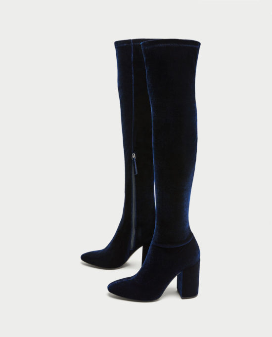 velvet shoes blue OTK boots from Zara