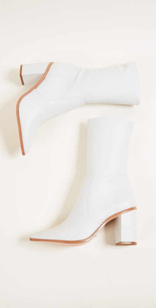 Schutz Anflor White Block Heel Booties