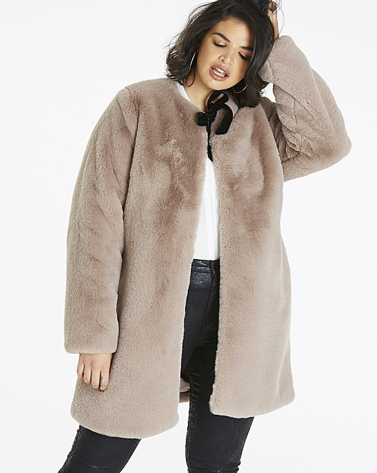 Fuxxy coat Simply Be Faux Fur Coat with bow detail