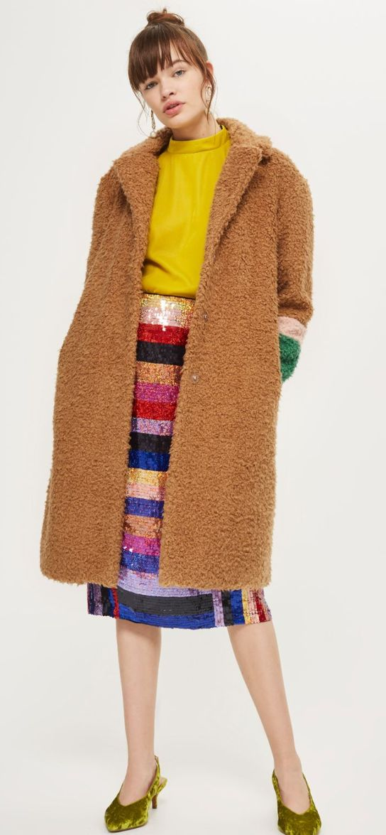 Topshop Color Block teddy fuzzy coats