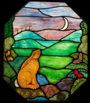Moon Gazing Hare glass panel