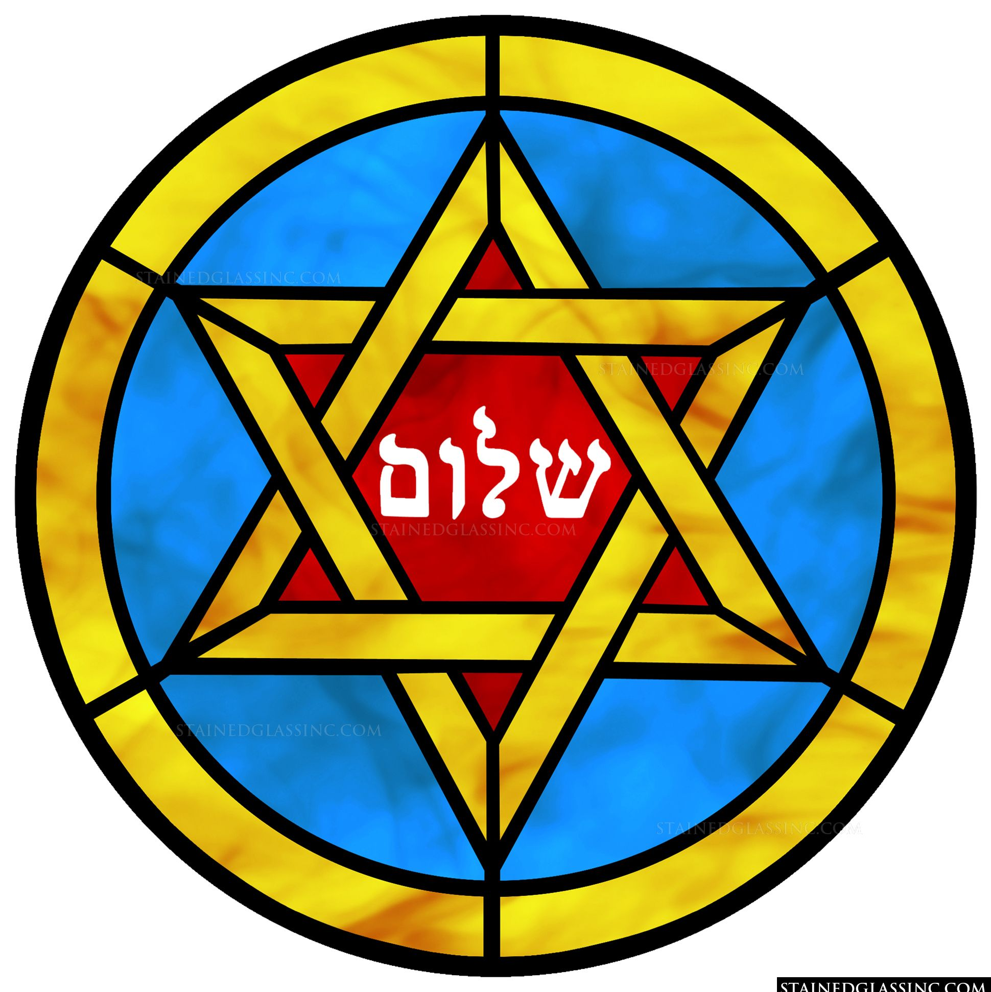 Golden Star Of David Religious Stained Glass Window