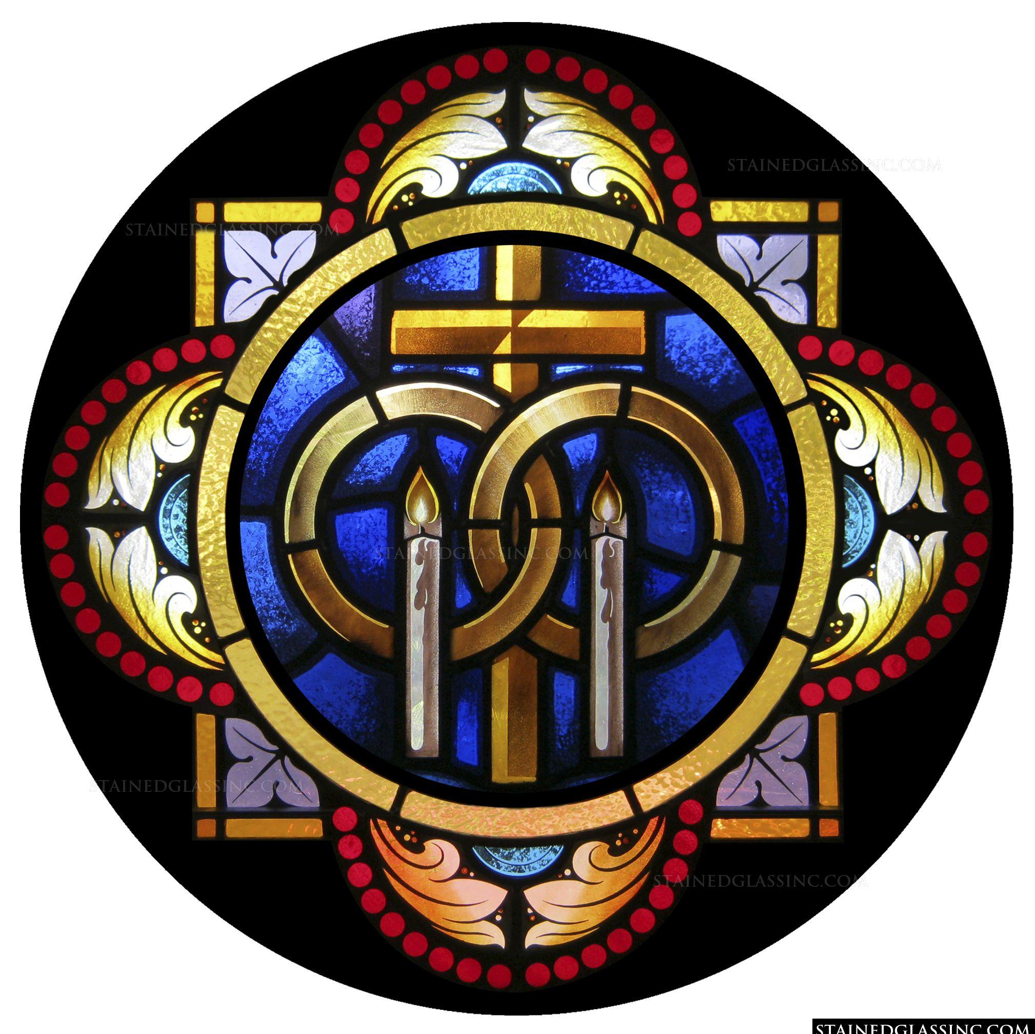 Matrimony Symbols Religious Stained Glass Window