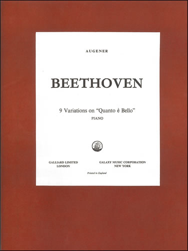 Beethoven, Ludwig Van: Variations On 'Quant'e Più Bello', Nine . WoO69